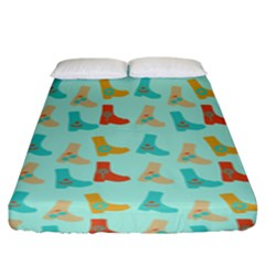 Blue Orange Boots Fitted Sheet (king Size) by snowwhitegirl