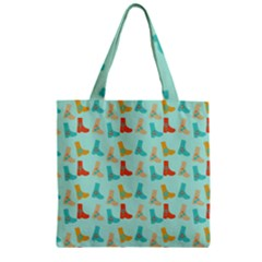 Blue Orange Boots Zipper Grocery Tote Bag by snowwhitegirl
