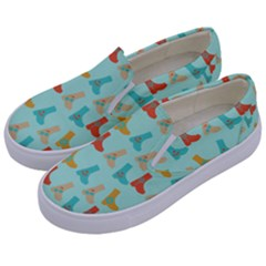 Blue Orange Boots Kids  Canvas Slip Ons by snowwhitegirl