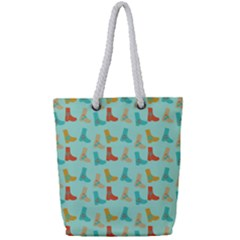 Blue Orange Boots Full Print Rope Handle Tote (small) by snowwhitegirl