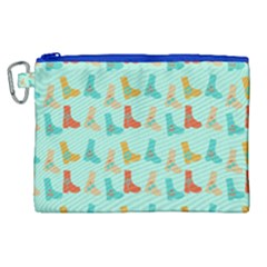 Blue Orange Boots Canvas Cosmetic Bag (xl) by snowwhitegirl