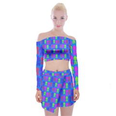 Neon Robot Off Shoulder Top With Mini Skirt Set by snowwhitegirl