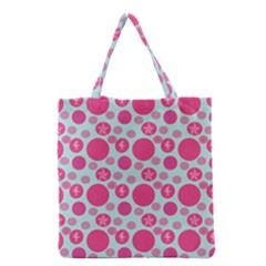 Blue Retro Dots Grocery Tote Bag