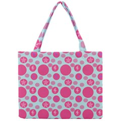 Blue Retro Dots Mini Tote Bag