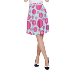 Blue Retro Dots A-line Skirt