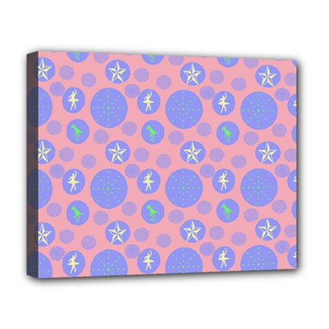 Pink Retro Dots Deluxe Canvas 20  X 16