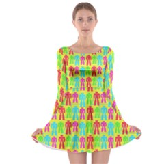 Colorful Robots Long Sleeve Skater Dress