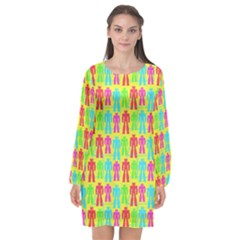 Colorful Robots Long Sleeve Chiffon Shift Dress