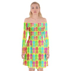 Colorful Robots Off Shoulder Skater Dress