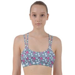 Pink Dress Blue Line Them Up Sports Bra by snowwhitegirl