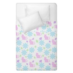 Cats And Flowers Duvet Cover Double Side (single Size) by snowwhitegirl