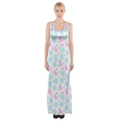 Cats And Flowers Maxi Thigh Split Dress by snowwhitegirl