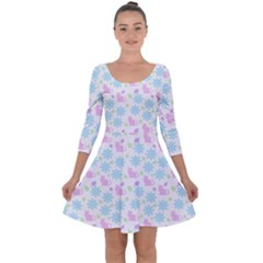 Cats And Flowers Quarter Sleeve Skater Dress
