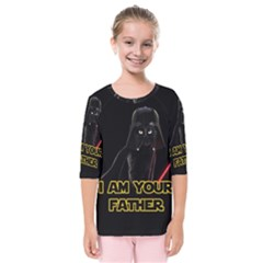 Darth Vader Cat Kids  Quarter Sleeve Raglan Tee