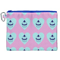 Cupcakes In Pink Canvas Cosmetic Bag (xxl)
