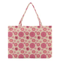 Cream Retro Dots Medium Tote Bag