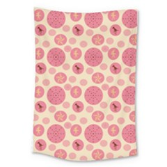 Cream Retro Dots Large Tapestry