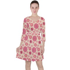Cream Retro Dots Ruffle Dress