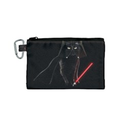 Darth Vader Cat Canvas Cosmetic Bag (small) by Valentinaart