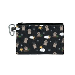 Groundhog Day Pattern Canvas Cosmetic Bag (small) by Valentinaart