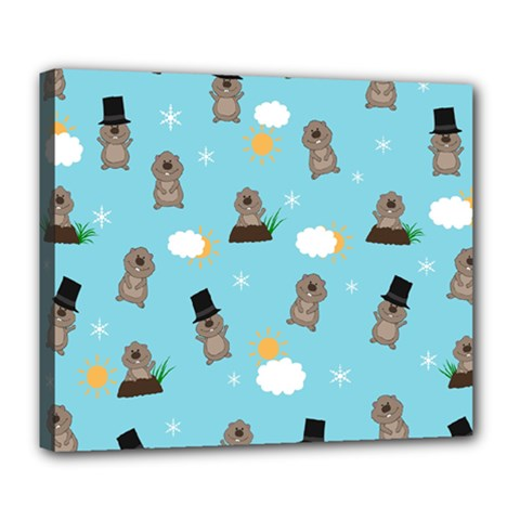 Groundhog Day Pattern Deluxe Canvas 24  X 20   by Valentinaart