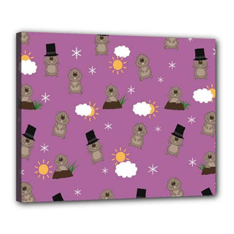 Groundhog Day Pattern Canvas 20  X 16