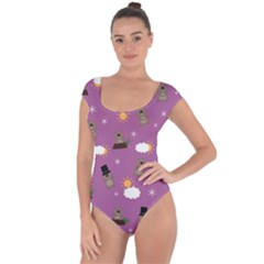 Groundhog Day Pattern Short Sleeve Leotard