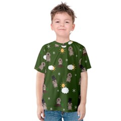 Groundhog Day Pattern Kids  Cotton Tee by Valentinaart