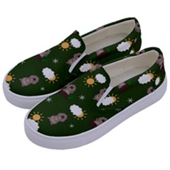 Groundhog Day Pattern Kids  Canvas Slip Ons by Valentinaart