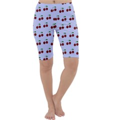 Blue Cherries Cropped Leggings