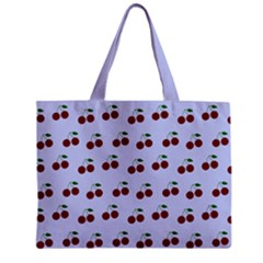 Blue Cherries Zipper Mini Tote Bag