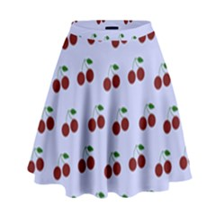 Blue Cherries High Waist Skirt
