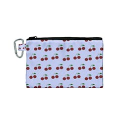 Blue Cherries Canvas Cosmetic Bag (small)