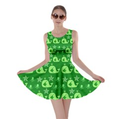Green Sea Whales Skater Dress