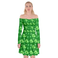 Green Sea Whales Off Shoulder Skater Dress