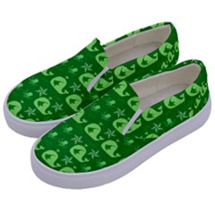 Green Sea Whales Kids  Canvas Slip Ons by snowwhitegirl