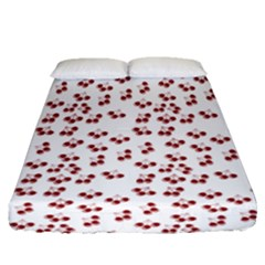 Red Cherries Fitted Sheet (queen Size) by snowwhitegirl