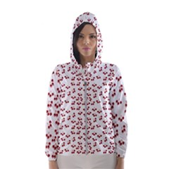 Red Cherries Hooded Wind Breaker (women) by snowwhitegirl