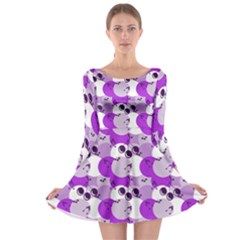 Purple Cherry Dots Long Sleeve Skater Dress