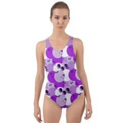Purple Cherry Dots Cut-out Back One Piece Swimsuit