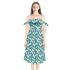 Ocean Cherry Shoulder Tie Bardot Midi Dress