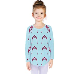 Blue Flower Red Hat Kids  Long Sleeve Tee