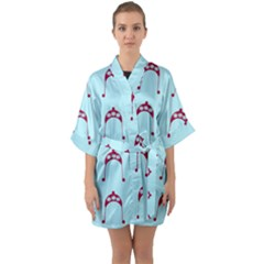 Blue Flower Red Hat Quarter Sleeve Kimono Robe