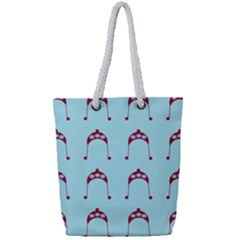 Blue Flower Red Hat Full Print Rope Handle Tote (small)