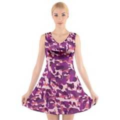 Pink Camo V-neck Sleeveless Skater Dress by snowwhitegirl