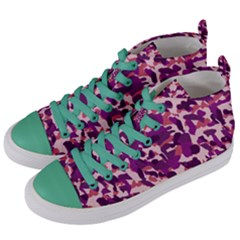 Pink Camo Women s Mid Top Canvas Sneakers by snowwhitegirl