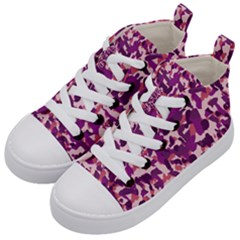 Pink Camo Kid s Mid Top Canvas Sneakers by snowwhitegirl
