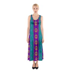 Peace Be With Us This Wonderful Year In True Love Sleeveless Maxi Dress by pepitasart