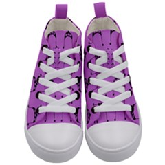 Violet Flower Hat Kid s Mid-top Canvas Sneakers