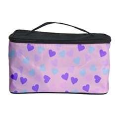 Blue Pink Hearts Cosmetic Storage Case